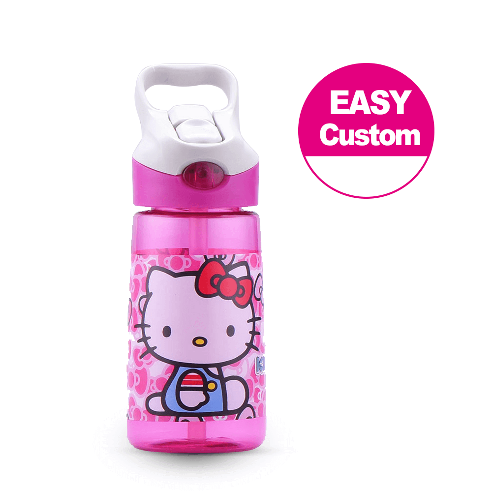 Flip Straw Plastic Kids Sports Water Bottle